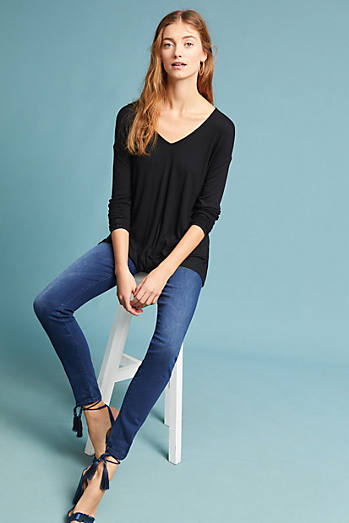 Ribbed Twist-Hem Top
