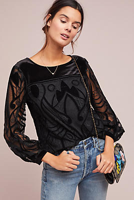 Slide View: 1: Velvet Patterned Top