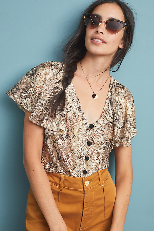 Willow Snake-Printed Blouse - Taupe, Size Xs