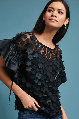 Slide View: 1: Floral Applique Ruffled Top