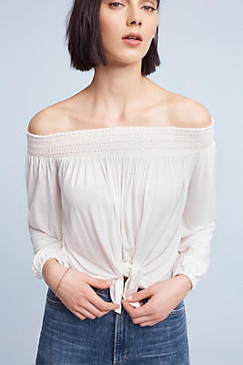 Slide View: 1: Smocked Off-The-Shoulder Top