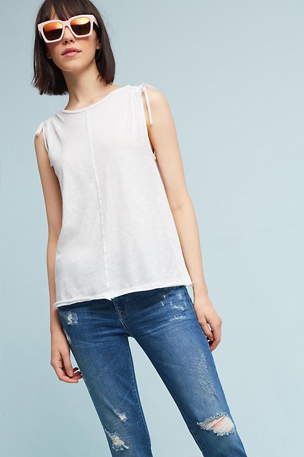 Sorena Tied-Sleeve Top - White, Size Xs