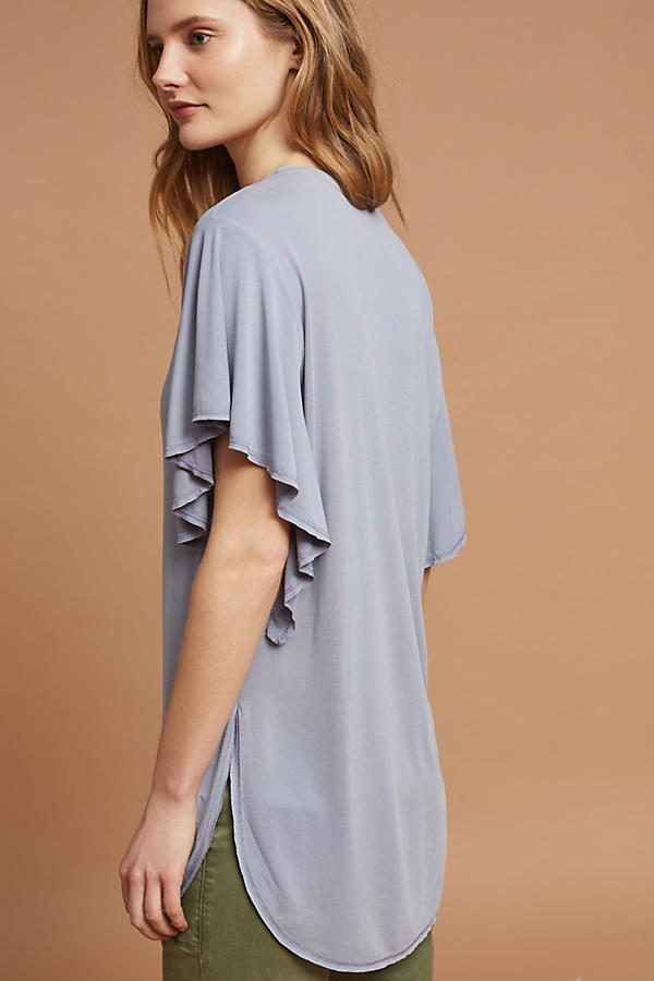Slide View: 4: Flutter-Sleeve V-Neck Tunic
