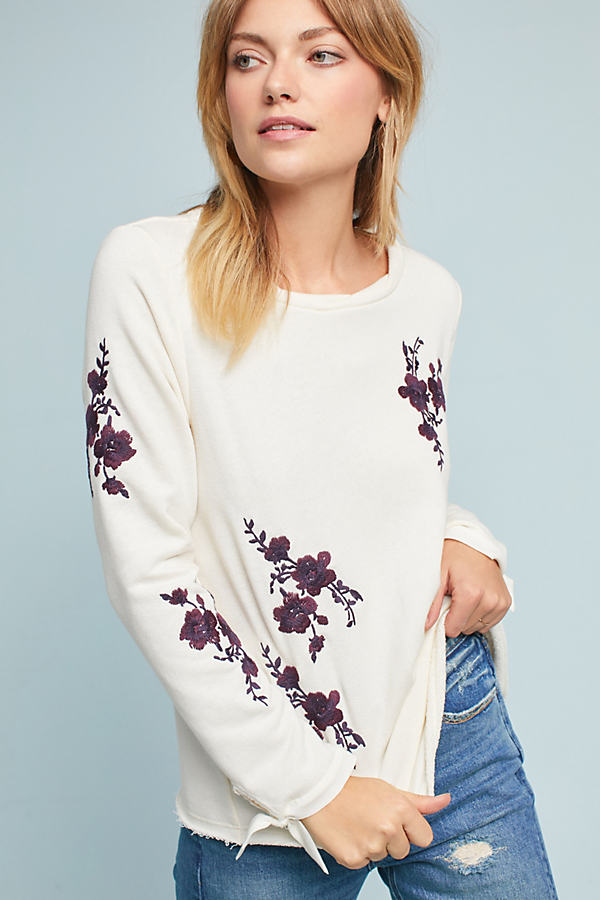 Embroidered Tie-Sleeve Sweatshirt, Ivory - Ivory, Size M