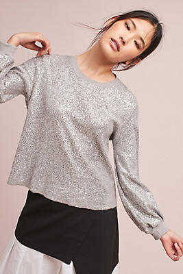 Slide View: 2: Pleated-Sleeve Metallic Pullover