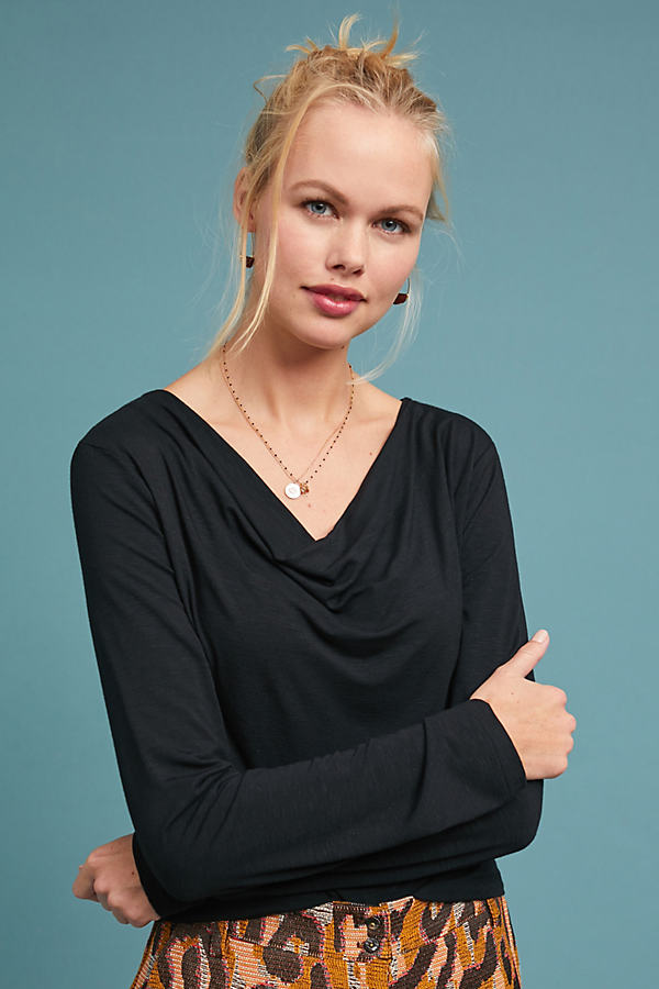 Kirby Cowl Neck Top - Black, Size Xs