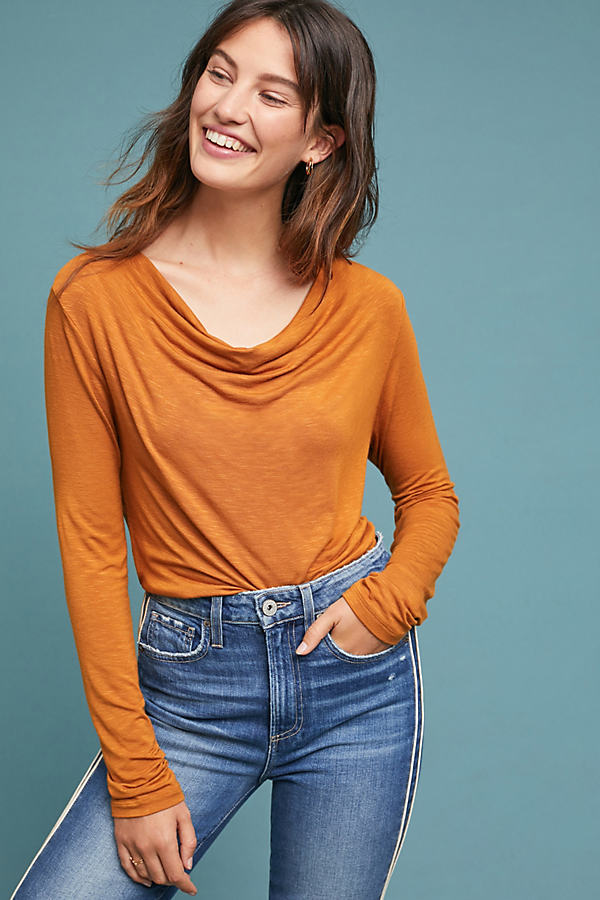 Kirby Cowl Neck Top - Brown, Size Xl
