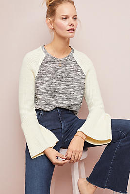Slide View: 1: Bell-Sleeved Raglan Top
