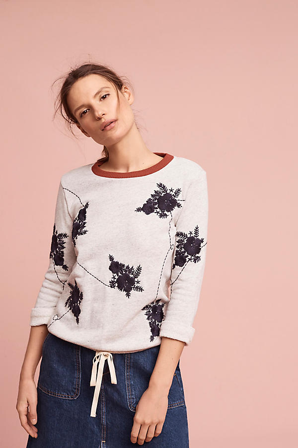 Slide View: 1: Embroidered Floral Sweatshirt