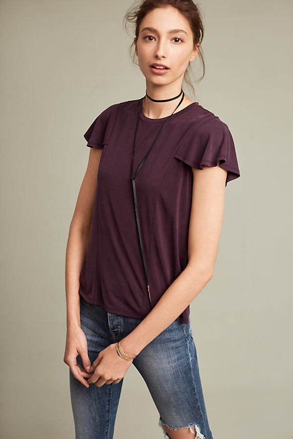Courtside Flutter Top - Dark Purple, Size M