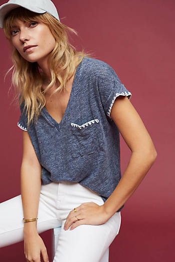 Embroidered Linen V-Neck Tee
