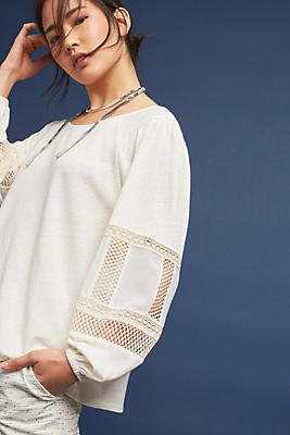 Slide View: 1: Sia Embroidered Peasant Top