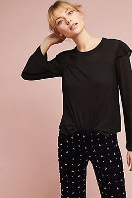 Slide View: 1: Wilt Long-Sleeve Ruffled Tee