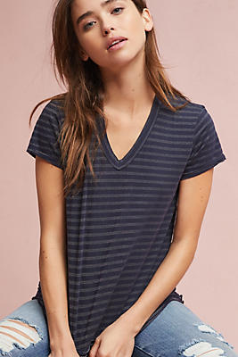 Slide View: 1: Wilt Striped V-Neck Tee