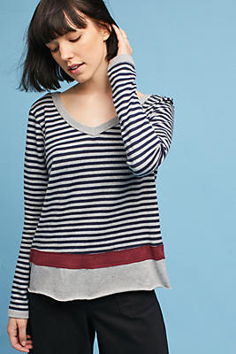 Slide View: 1: Wilt Long-Sleeve Striped V-Neck Tee