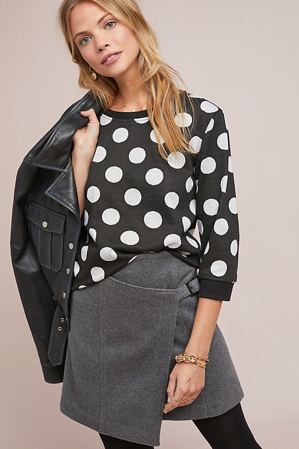 Polka Dot Sweatshirt - Black, Size S