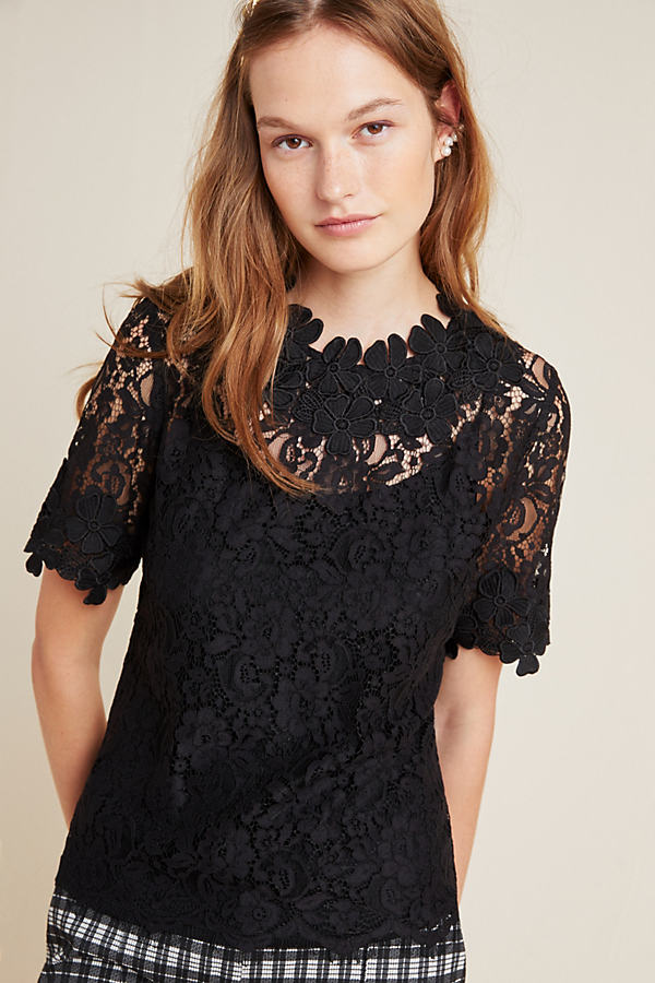 Brittany Lace Top - Black, Size M