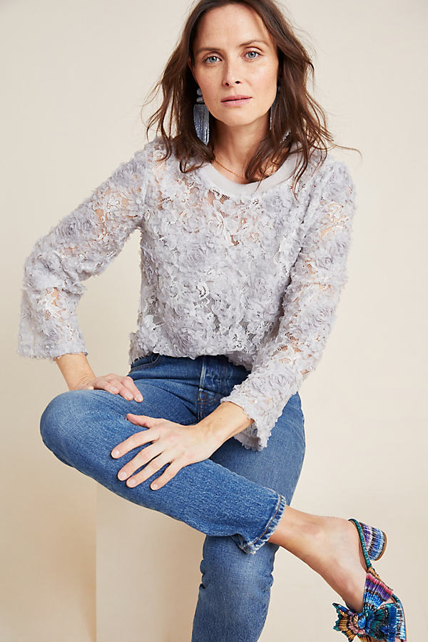 Freda Appliqued-Lace Pullover Top - Grey, Size Xs