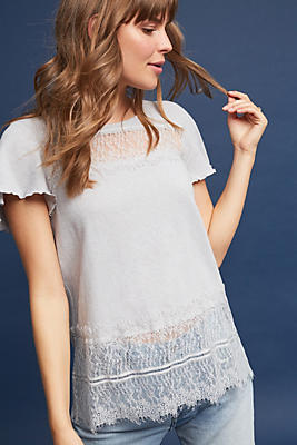 Slide View: 1: Linen & Lace Tee