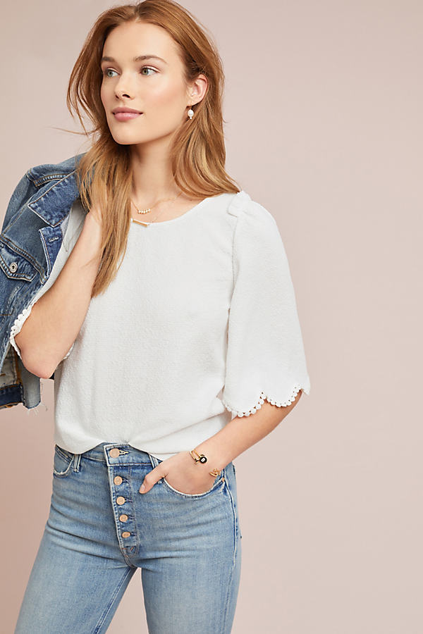 Astley Textured Top - White, Size M