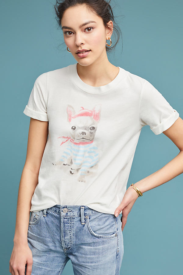 Sol Angeles Puppy Graphic Tee - White, Size S