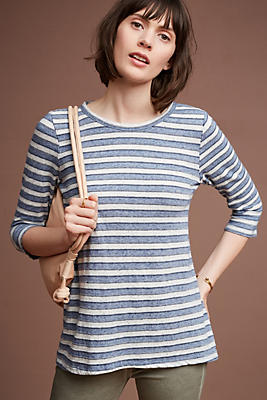 Slide View: 1: Striped Scoop-Back Tunic