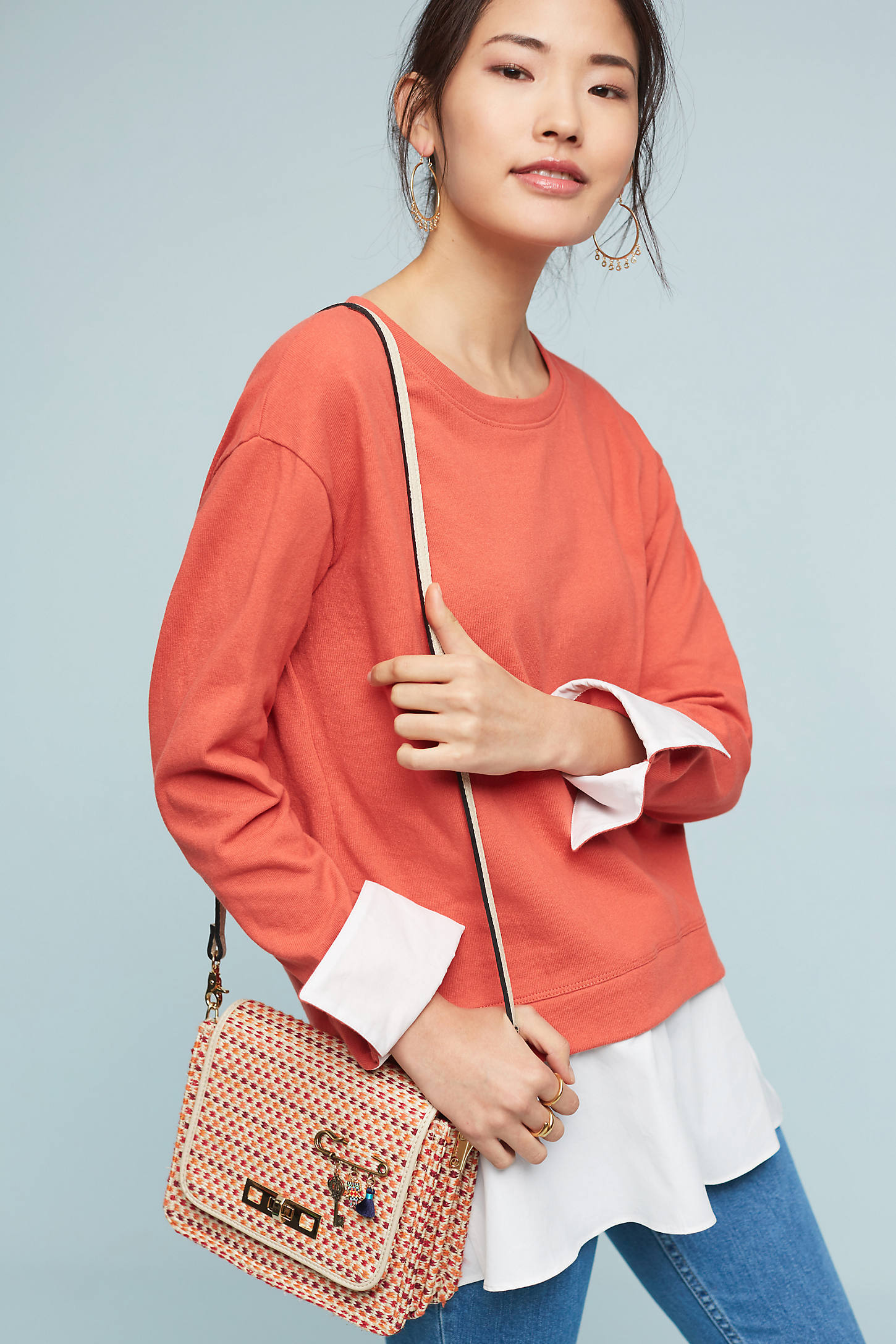 Layered Poplin Sweatshirt