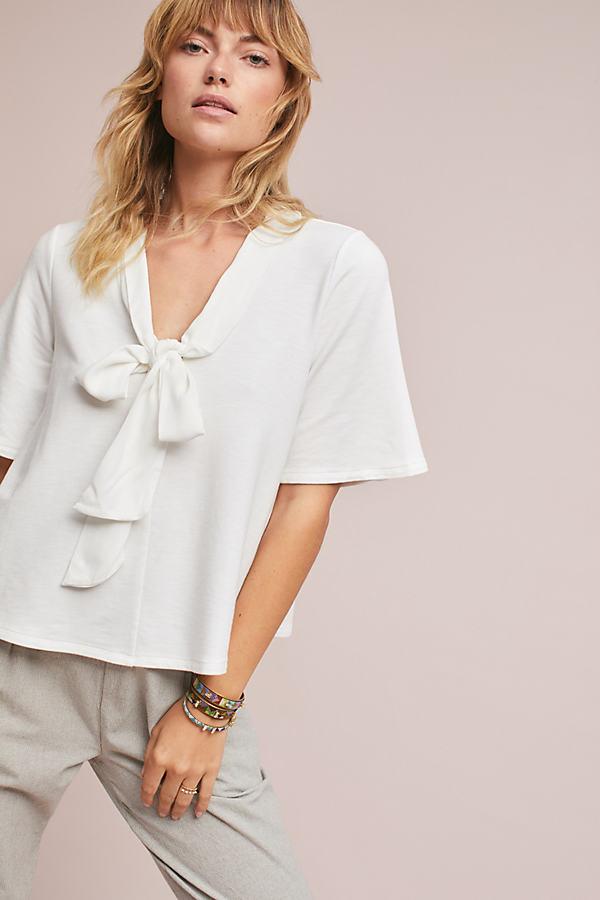 Tania Tie-Front Top, White - White, Size L