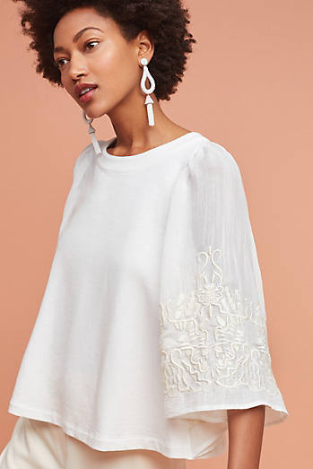 Embroidered Poncho Pullover