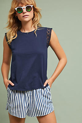 Slide View: 1: Lace-Trimmed Tee