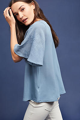 Slide View: 1: Lace-Sleeve Top