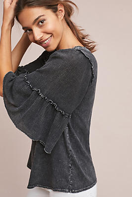 Slide View: 1: Antioch Ruffled-Sleeve Top