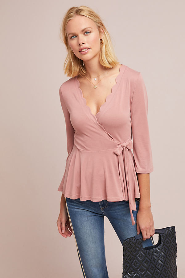 Scalloped Wrap Top - Pink, Size L