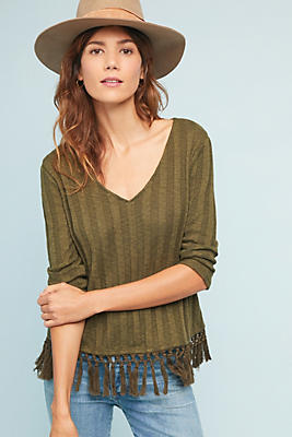 Slide View: 1: Fringed Knit Top