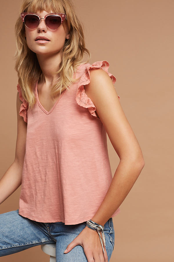 Ruffled Lace Top - Rose, Size L