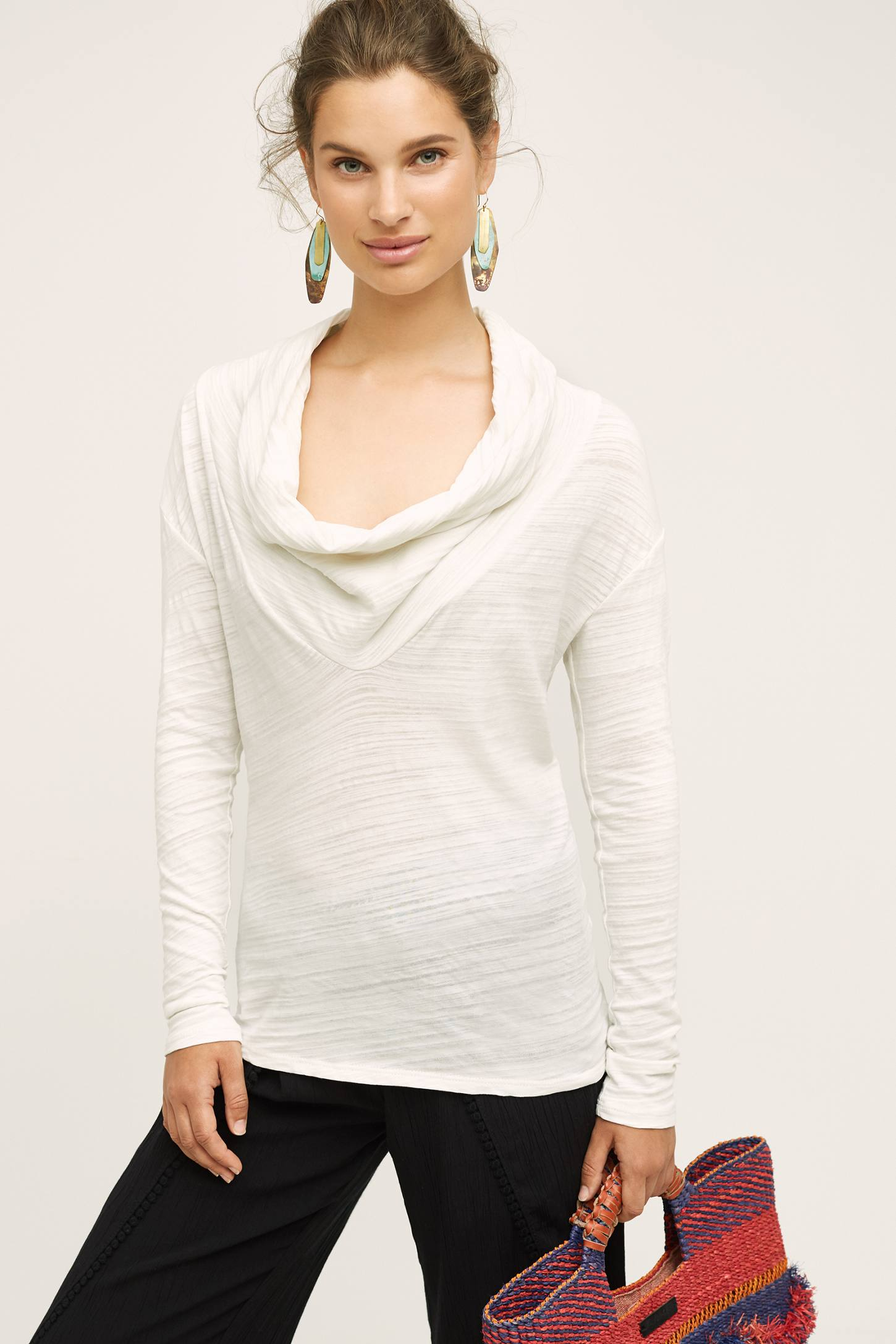 Slide View: 1: Dipped Cowl Tee