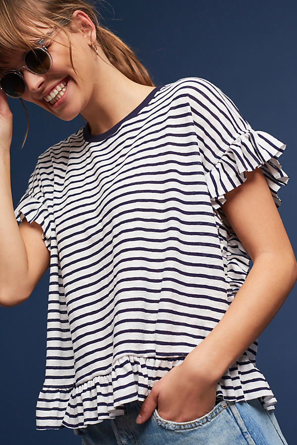 Drake Striped T-Shirt, Navy - Navy, Size S