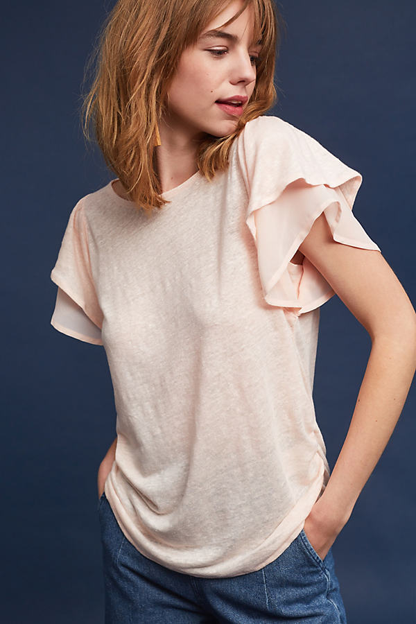 Phailin Ruffle-Sleeved Top, Pink - Rose, Size Xl
