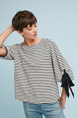 Slide View: 2: Tied Stripes Pullover