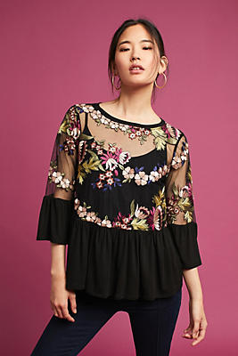 Slide View: 1: Ornate Embroidery Top
