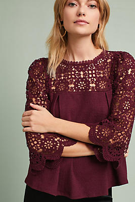 Slide View: 1: Marigold Lace Top