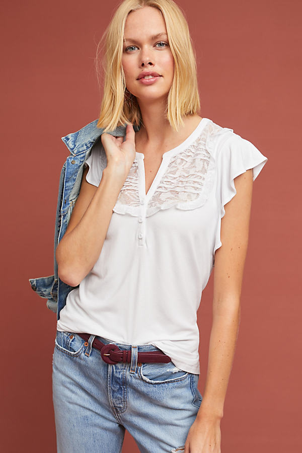Gillham Flutter-Sleeve Top - White, Size Xl