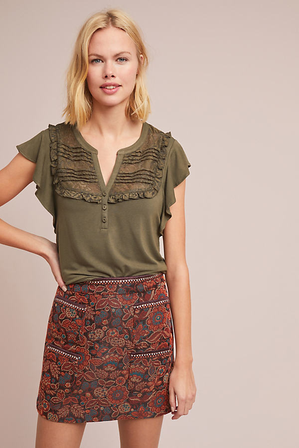 Gillham Flutter-Sleeve Top - Green, Size M