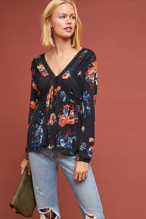 Riley Floral Top - Blue, Size S
