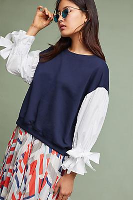 Slide View: 1: Poplin-Sleeve Sweatshirt