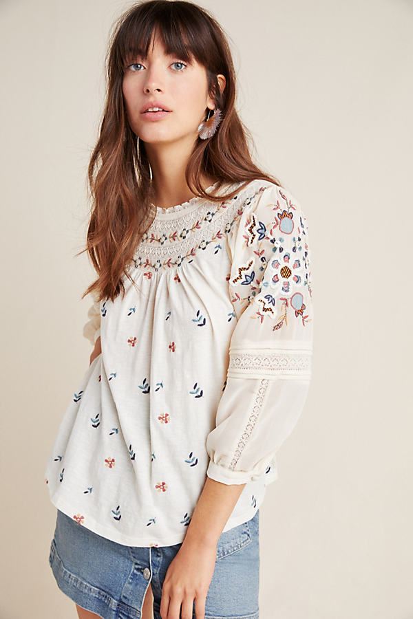 Priscilla Embroidered Peasant Top - White, Size M