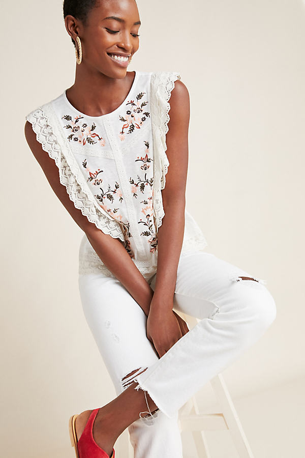 Bette Ruffled Blouse - White, Size L
