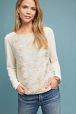 Slide View: 1: Foil-Printed Pointelle Top