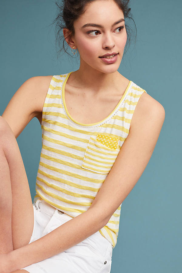 Striped Pocket Tank Top - Yellow, Size Xl