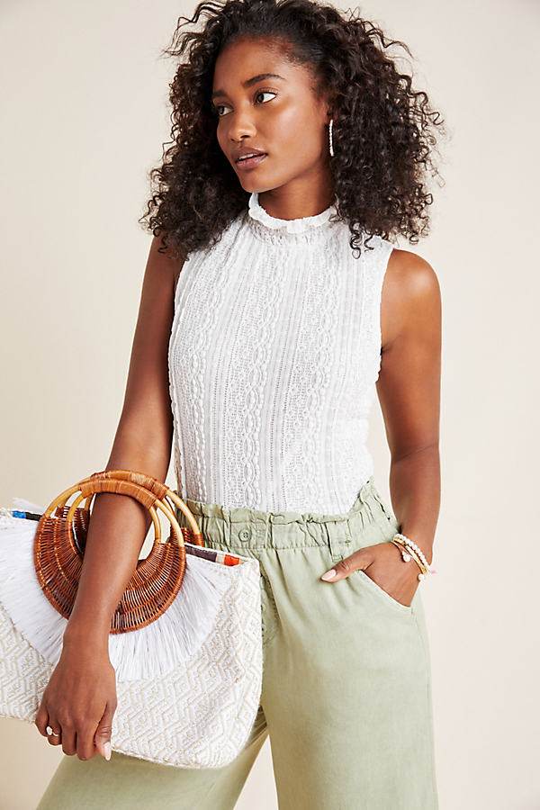 Mallorie Ruffled-Lace Top - White, Size Xs